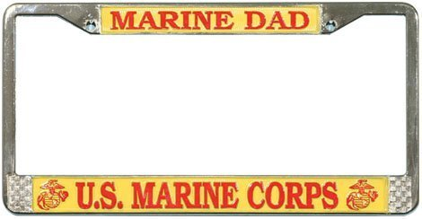 U.S. Marine DAD License Plate Frame (Chrome)