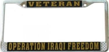 Operation Iraqi Freedom Veteran License Plate Frame