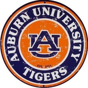 University of Auburn Tigers (retro) Collegiate Embossed Metal Circular Sign C...