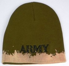 Army Embroidered Skull Cap (Olive Green), Beanie - $9.89
