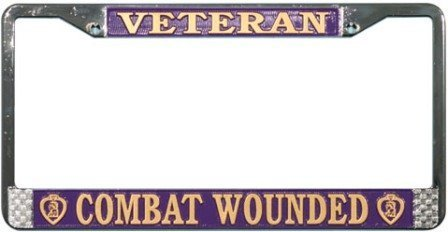 Veteran Purple Heart Combat Wounded License Plate Frame