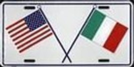 Italy USA Cross Flags License Plate - $6.92