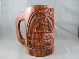 Vintage Wooden Tiki Mug - Island Hut Theme - Made in the Phillipnes - $35.00