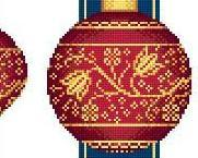 Red Faberge Christmas Ornaments Collection II cross stitch chart Solaria Designs