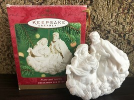 Hallmark Keepsake Ornament Mary and Joseph Porcelain Chalkware Sculpted ... - $13.10