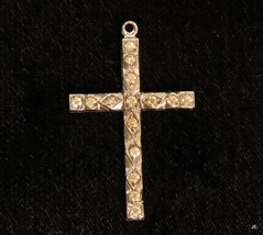 Old Vintage Art Deco Clear Paste Rhinestone Rhodium Plated Cross Pendant... - $24.70