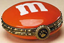 "Boyds Treasure Box ""Orange M & M Hinged Box""  Licensed- New- 2005 - Retired - $22.99"