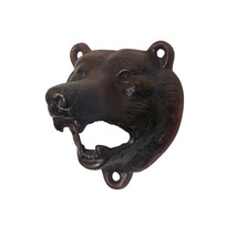 British Antique Replica Cast Iron Grizzly Bear Wall Mount Beer Bottle Op... - $34.16