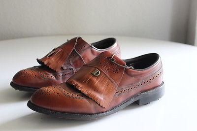 Dexter Vintage Brown Leather Men`s Brogue Wingtip Kilt Golf Shoes Size 9