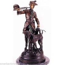 Hunter with Horn and Hounds Solid Lost Wax Bronze Statue Sculpture Small - $634.40
