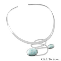 Ornate Larimar Collar Style Necklace - $539.99