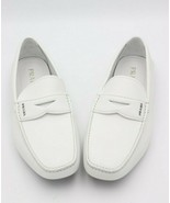 NIB Prada Mens White Saffiano Leather Logo Penny Driver Loafers Slip-on ... - $325.00