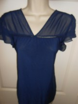 Cute PerSeption Concept size L navy blue sheer Top  A - $9.89