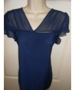 Cute PerSeption Concept size L navy blue sheer Top  A - $8.90