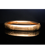 1900's Victorian Hinged fancy floral bracelet rose gold filled RC Co and... - $155.00