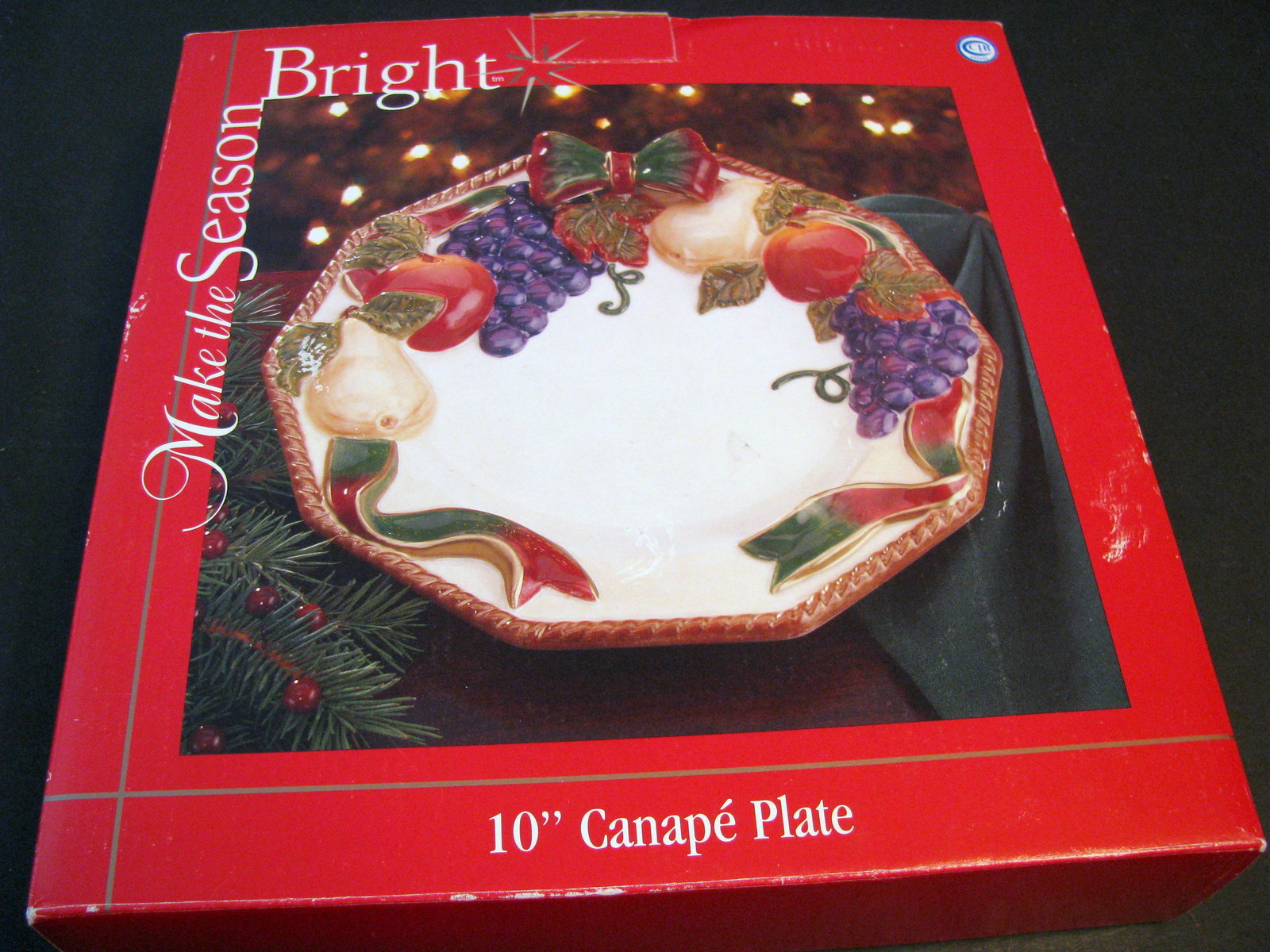 Make the season bright 10 canape plate new in box for Christmas canape plates