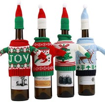 4 PCS Christmas Wine Bottle Cover Bags Ugly Sweater Wine Bottle Gift Bag... - $10.40