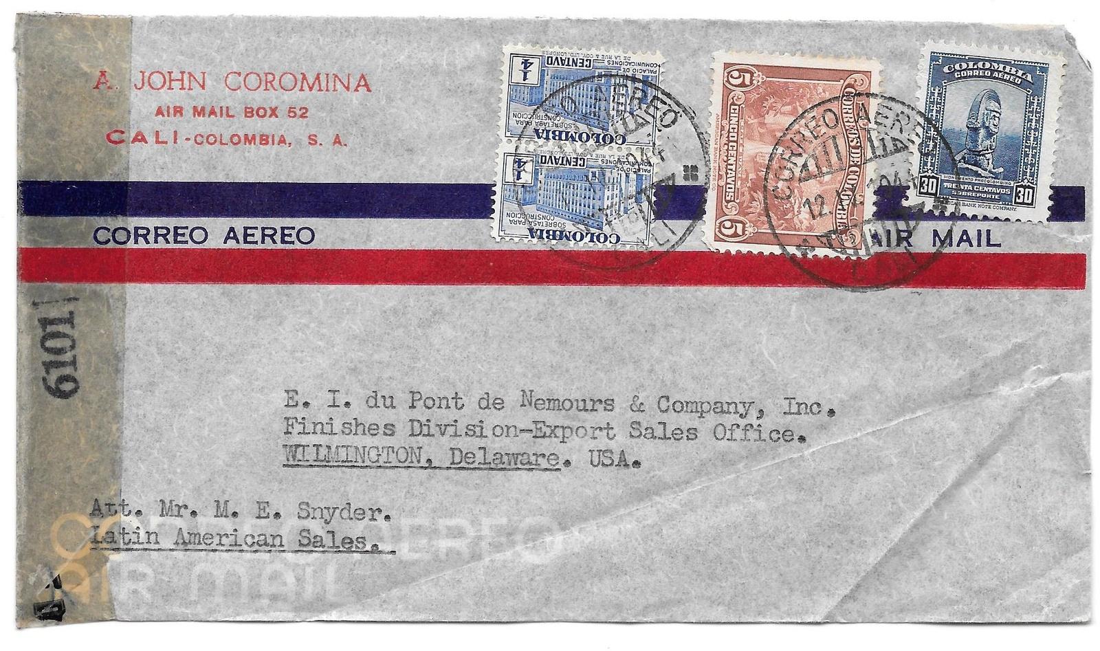 99 br 132 315 censored colombia john coromina 1944 air mail