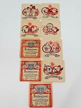 Vintage Set of 9 Budweiser Logo Bud Man Cartoon Coasters - $14.20