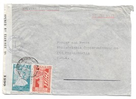 Greece Censored Cover WWII 1945 Air to US Sc 465 467 Censor Tape Examine... - $9.95