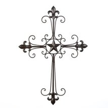Home Locomotion - Wrought Iron Fleur De Lis Wall Cross (pack of 1 EA) [K... - $27.59