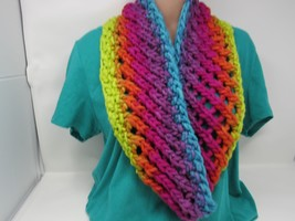 Handcrafted Knitted Cowl Wrap Shawl 100% Merino Wool Female Adult Multi-... - $53.74