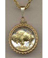 U.S.Buffalo nickel gold on silver coin pendant necklace - $103.00