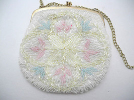 Vintage Ivory, Pink, Blue Beaded Evening Bag with Gold Tone Clasp & Chain - $23.70