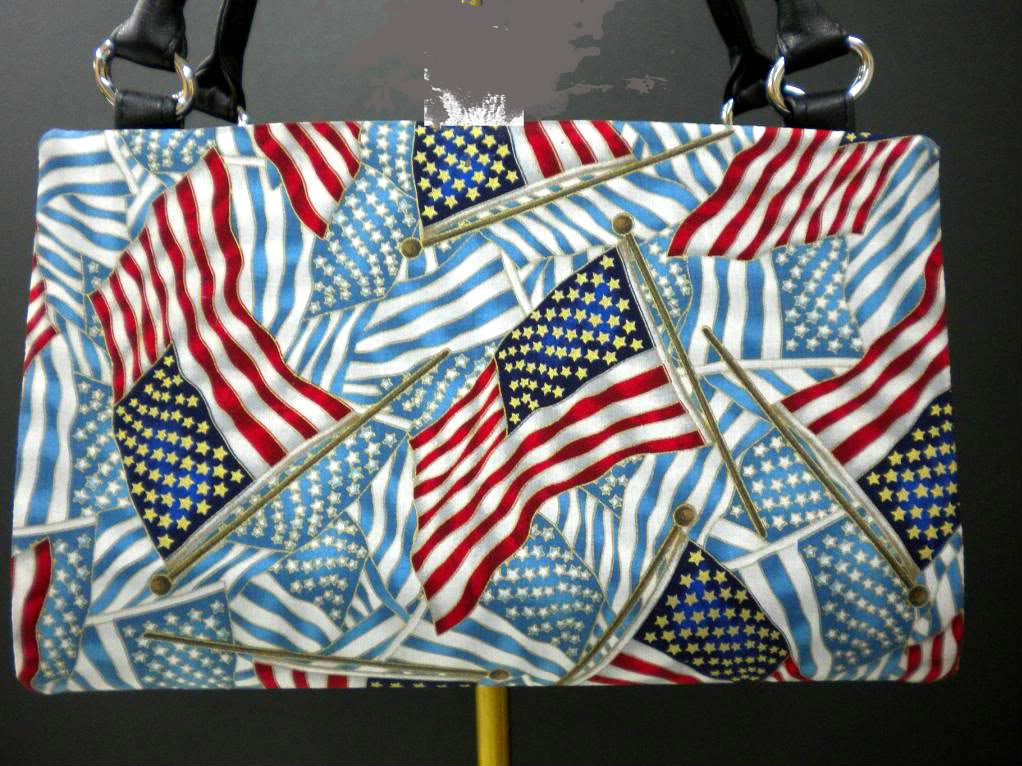 Patriotic Liberty Flag Handmade Magnetic Shell for Classic Base Bag Shelly Purse