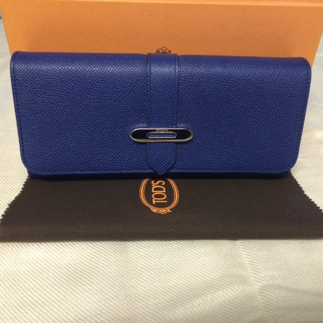 Primary image for Authentic 100%  Brand New Tod's Cobalt Blue Long Wallet with SHW made in Italy