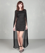 sheer black cape dress size small xs evening pr... - $29.99