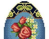 Rose Motif Easter Egg floral spring cross stitch chart Solaria Designs