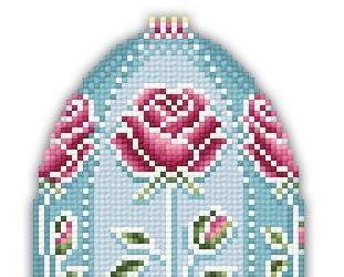 Rose Faberge Easter Egg floral spring cross stitch chart Solaria Designs