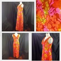 Hawaiian Togs Flower Power Barkcloth Maxi Dress Surplice Waterfall Train... - $94.05