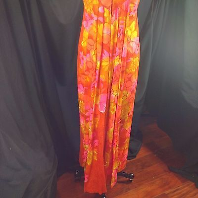 Hawaiian Togs Flower Power Barkcloth Maxi Dress Surplice Waterfall Train S / 6