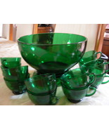 Antique Vintage Anchor Hocking Fire King Emerald Forest Green 14 Piece P... - $99.99