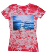 Roxy Size S Womens Orange Tie-Dye Surf Graphic Print T-Shirt  - $10.99
