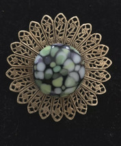 Vintage Gold and Brooch With Large Multi-color Stone - $12.00