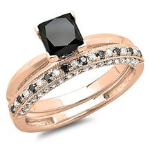 14K Rose Gold Black Princess/Rd Cut Dia Bridal Vintage Engagement Ring Set - $95.99