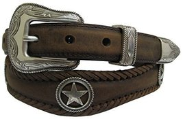 Silver Star Conchos Western Leather Scalloped Belt Black 50 [Apparel] - $38.55