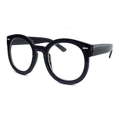 RETRO Oversized Thick Unisex Round Frame Fashion Clear ...