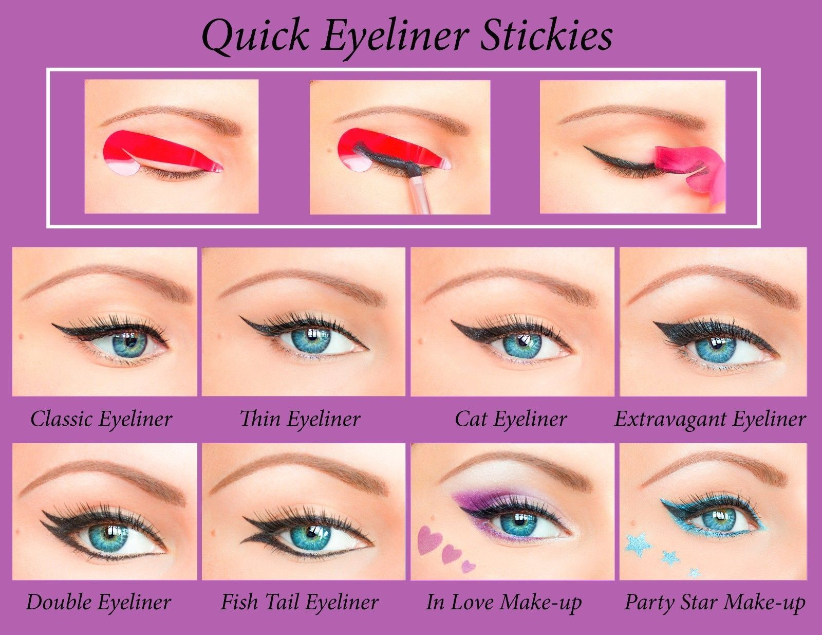 Quick Eyeliner Stickies Stencils Cosmetic Eye Makeup Tool  Free Shipping NEW US1