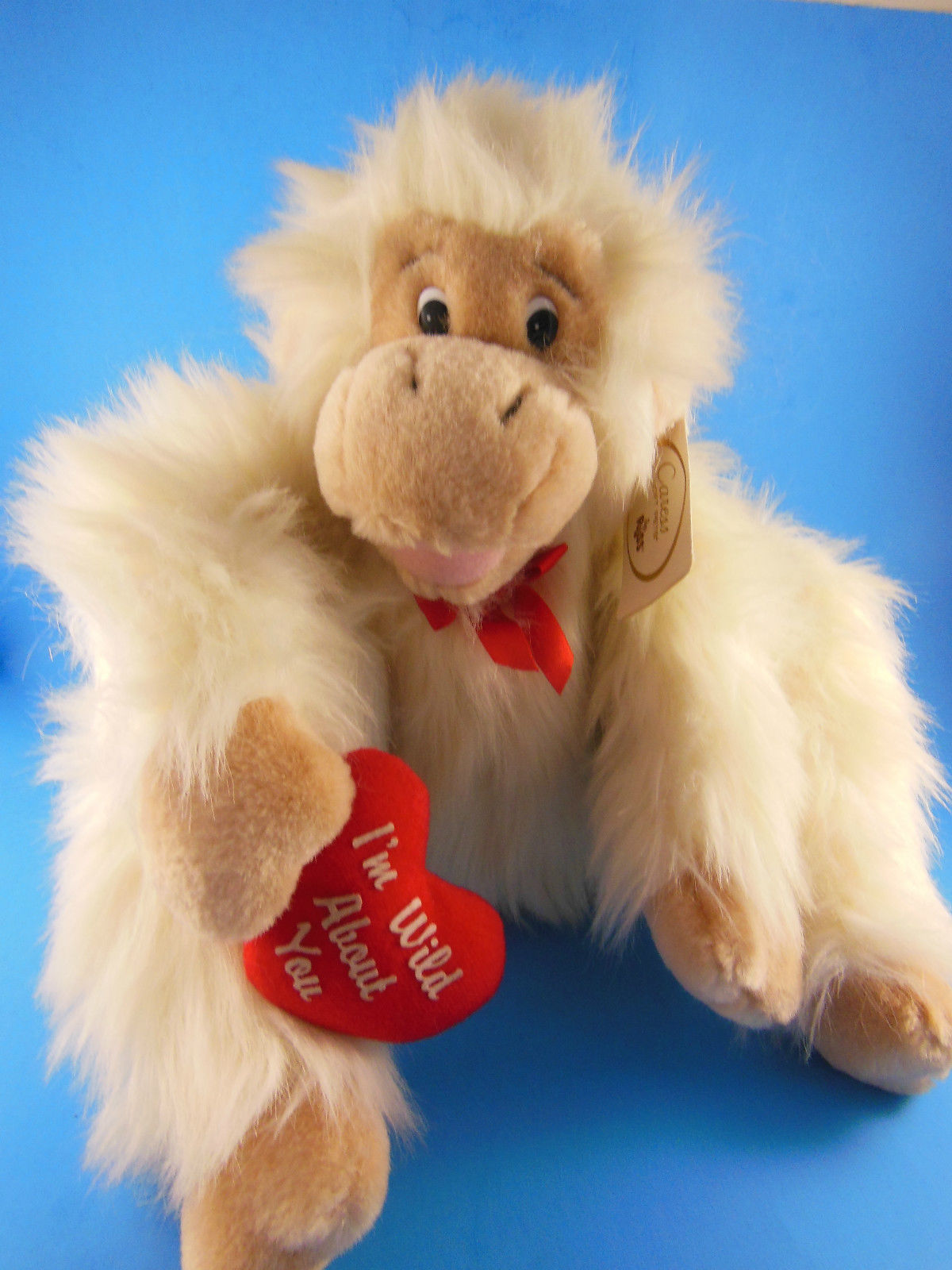 "Primary image for WHITE GORILLA APE MONKEY plush Caress Soft Pets 11"" sitting MintWTag Russ Berrie"