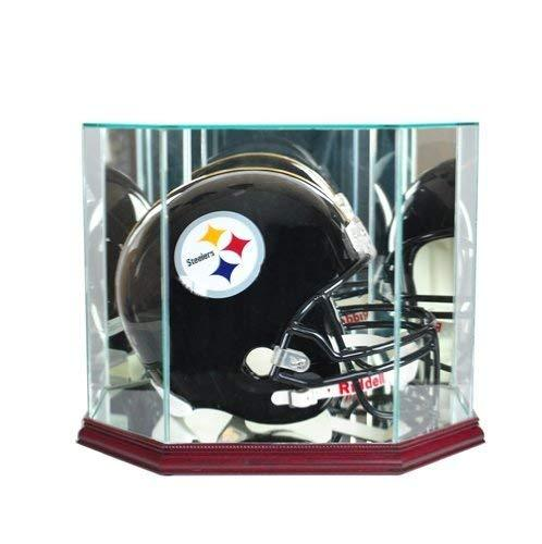 Full Size Football Helmet Display Case - Glass Top with Octagon Cherry Base - Ma