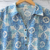 Linen Blouse 18W Turquoise Cobalt Blue JM Collection Medallion Boho Casual - $19.79