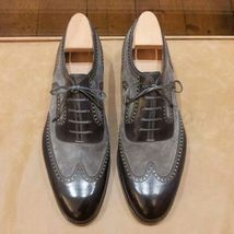Handmade Men's Leather And Suede Wing Tip Brogue Lace Up Oxford Shoes image 3
