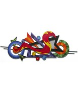 FunKy Contemporary Modern Abstract Art Wood Wall Sculpture w/ Metal 57x22 - $395.99