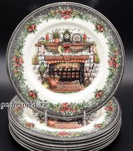 Royal Stafford Christmas Eve * 8 DINNER PLATES * Fireplace, Holiday, NEW... - $89.99