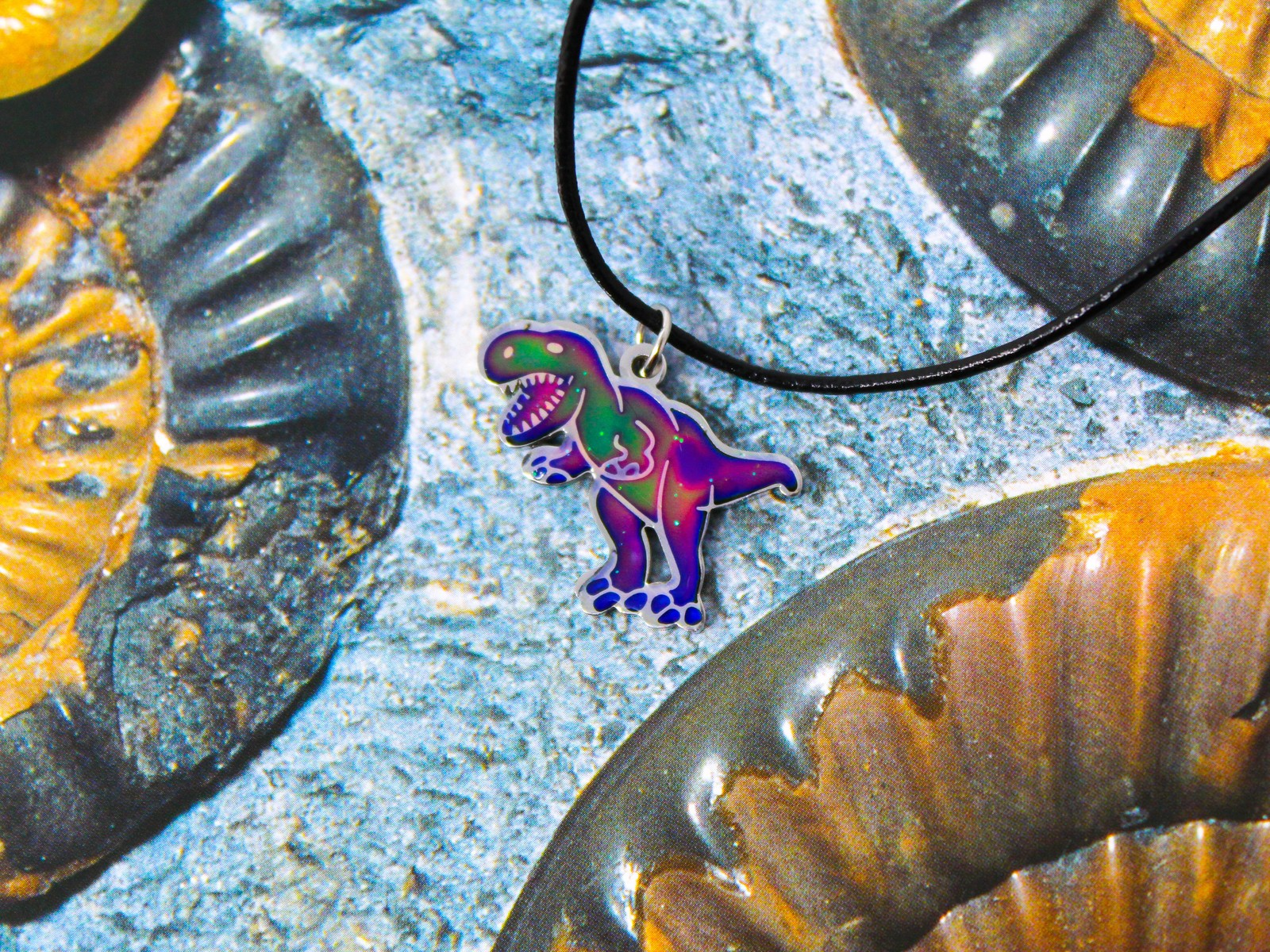 T-Rex Dinosaur Stainless Steel Color Changing Mood Necklace by Ello Elli