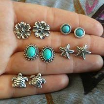 5Pairs/Set Women Vintage Turquoise Earrings Jewelry Alloy Ear Stud Boho ... - $6.33